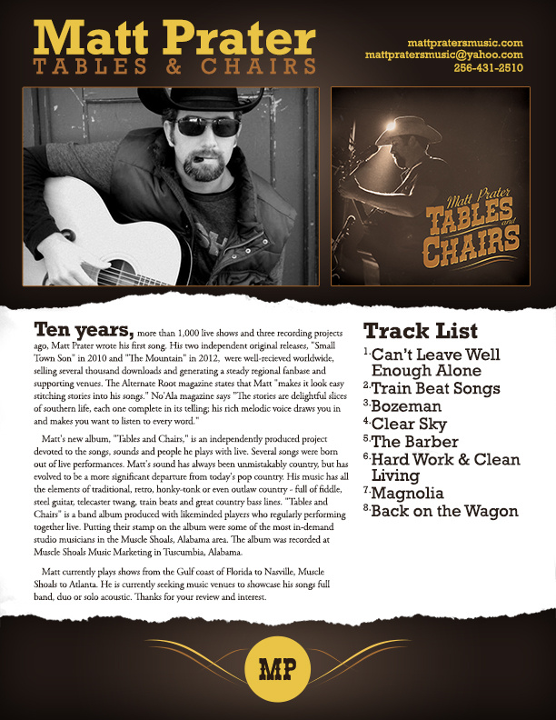 """Reviewed: Matt Prater's """"Tables and Chairs"""""""